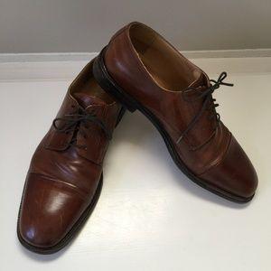 Johnston & Murphy Brown Leather Cap Toe Dress Shoe